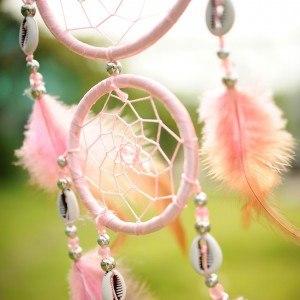 Традиционен розов ловец на сънища 3