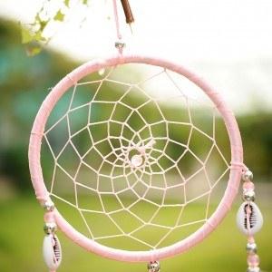 Apanhador de sonhos tradicional rosa 4