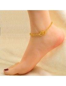 La cadena de Tobillo de Doble Corazón de Oro