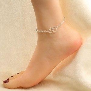 Catena della Caviglia - Doppio Cuore in Argento