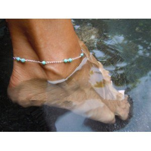 Řetízek po kotník - modré korálky - stříbrný / modrý