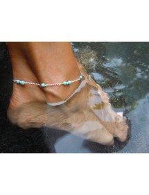La cadena de Tobillo - Azul Perlas de Plata/Azul