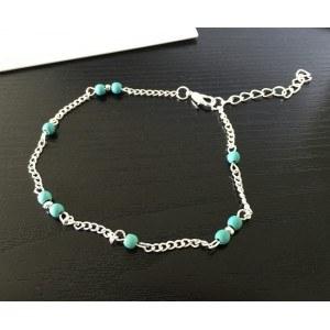 Řetízek po kotník - modré korálky - stříbrný / modrý 3