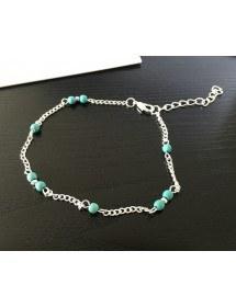 Верига на глезена - сини мъниста - сребро / синьо 3