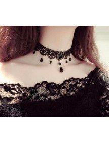 Halskette - Gothic - Ras -, Schlag - Schwarz 3