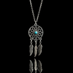 Necklace - Dreamcatcher - Silver/Blue