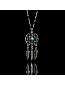 Necklace - Dreamcatcher - Silver/Blue