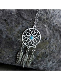 Necklace - Dreamcatcher - Silver/Blue 2