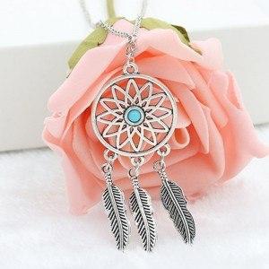 Necklace - Dreamcatcher - Silver/Blue 3