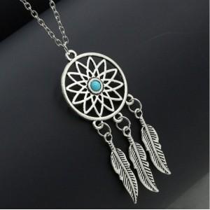 Necklace - Dreamcatcher - Silver/Blue 4