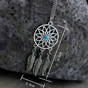 Necklace - Dreamcatcher - Silver/Blue 5