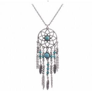 Necklace - Dreamcatcher Bohemian - Silver/Blue