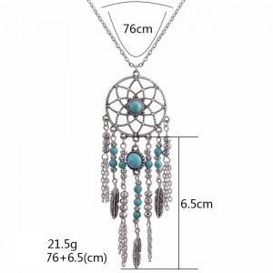 Collar - Atrapasueños Bohemio - Plata/Azul 2
