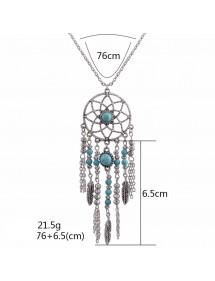 Necklace - Dreamcatcher Bohemian - Silver/Blue 2