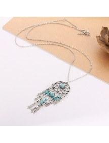 Necklace - Dreamcatcher Bohemian - Silver/Blue 3