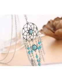 Collar - Atrapasueños Bohemio - Plata/Azul 5