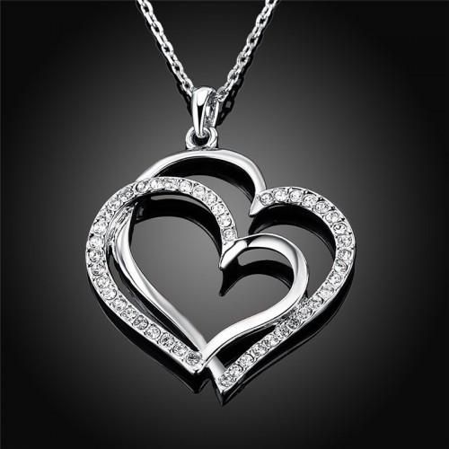 Necklace - Big Hearts - Silver