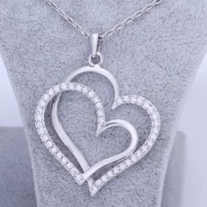 Necklace - Big Hearts - Silver 2
