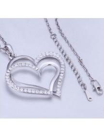 Necklace - Big Hearts - Silver 3