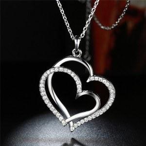 Necklace - Big Hearts - Silver 4