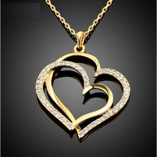 Necklace - Big Hearts - Gold
