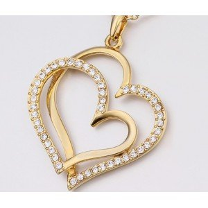 Necklace - Big Hearts - Gold 3
