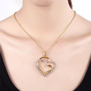 Necklace - Big Hearts - Gold 4