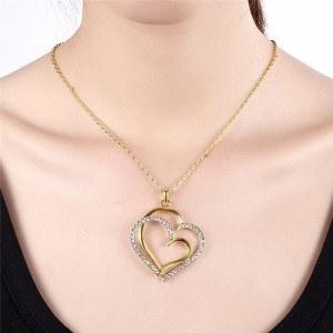 Ogrlica - Velike Srca - Zlato 4