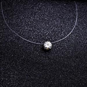 Collar - Solitario - Nylon / Transparente - Ras-Du-Coup - Blanco