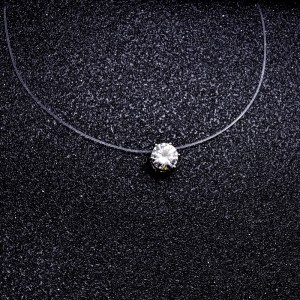 Necklace - Solitaire - Nylon/Transparent - Ras-Du-Coup - White