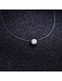 Halskette - Solitär - Nylon / Transparent - Ras-Du-Coup - Weiß