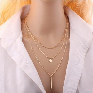 Necklace - Multi - Gold