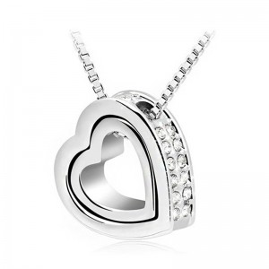 Ketting - Hart-Inlay - Diamant-Wit - Zilver/Wit