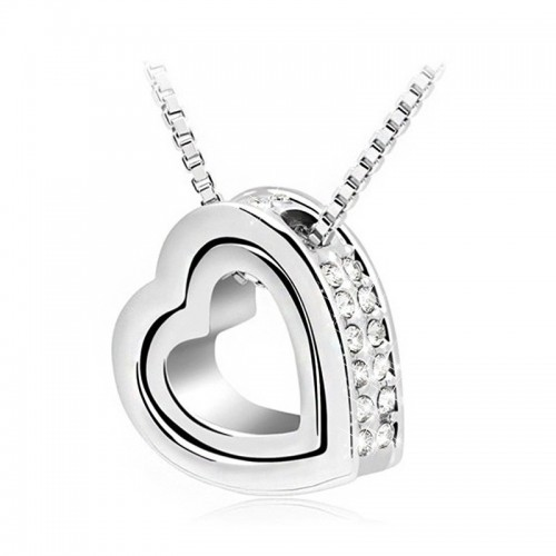 Necklace - Heart-Inlay - Diamond White - Silver/White