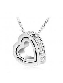 Collana - Cuore-Intarsio - Diamante Bianco - Argento/Bianco