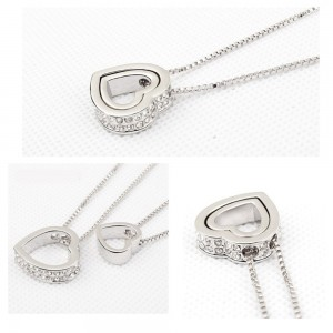 Ketting - Hart-Inlay - Diamant-Wit - Zilver/Wit 2