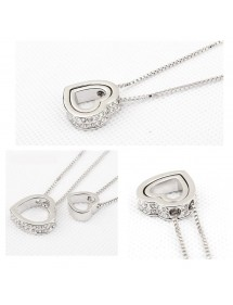 Collier - Coeur Incrusté - Diamants Blancs - Argent/Blanc 2