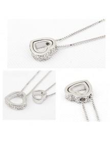 Necklace - Heart-Inlay - Diamond White - Silver/White 2
