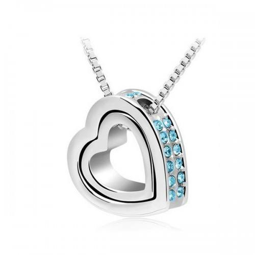 Ogrlica - Srca, Intarzija - Plavi Dijamanti - Silver/Plava