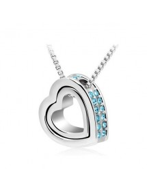 Necklace - Heart-Inlay - Diamond-Blue - Silver/Blue