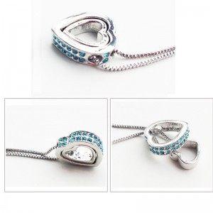 Collier - Coeur Incrusté - Diamants Bleus - Argent/Bleu 2