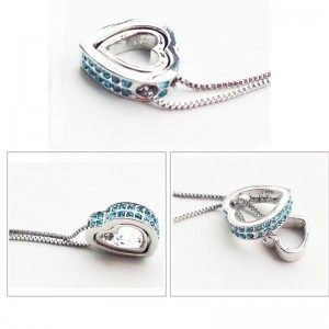 Necklace - Heart-Inlay - Diamond-Blue - Silver/Blue 2