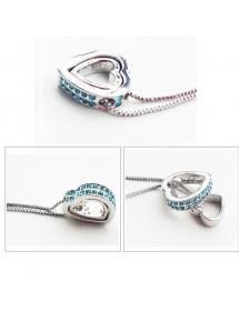 Ogrlica - Srca, Intarzija - Plavi Dijamanti - Silver/Plava 2