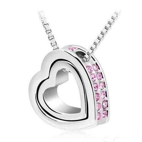 Ogrlica - Srca, Intarzija - Roza Dijamanti - Silver/Pink