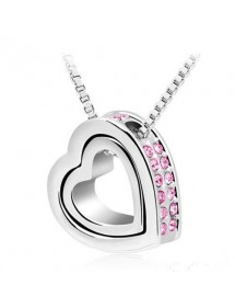Necklace - Heart-Inlay - Diamond-Pink - Silver/Pink