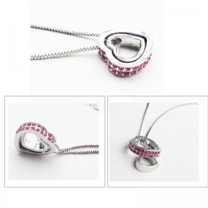 Necklace - Heart-Inlay - Diamond-Pink - Silver/Pink 2