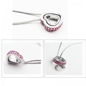 Ogrlica - Srca, Intarzija - Roza Dijamanti - Silver/Pink 2