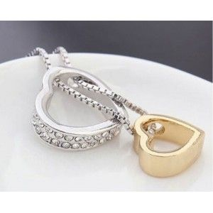Ketting - Hart-Inlay - Diamant-Wit - Zilver/Wit/Goud 2