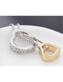 Halskette - Herz - Intarsien Diamant-Weiß - Silber/Gold/Weiß 2