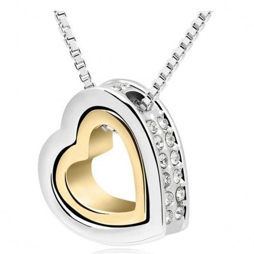 Halskette - Herz - Intarsien Diamant-Weiß - Silber/Gold/Weiß
